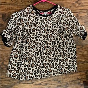 A New Day Animal Print Sheer Top